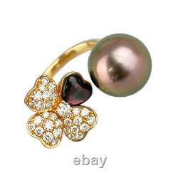 18K Pink Gold 750 Black Butterfly Pearl Diamond ring from Japan