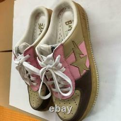 A BATHING APE Bapesta Slip-on Sneaker Shoes Gray Pink US8 Used from Japan F/S