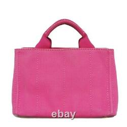 AUTHENTIC PRADA Canapa mini Handbag 2WAY logo pink Women from Japan