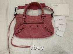 Auth BALENCIAGA Handbag 2Way Bag Purse Leather Pink used from Japan