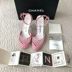 Auth CHANEL CC Ankle strap Pink Leather Heel Sandals Size37 Used from Japan F/S
