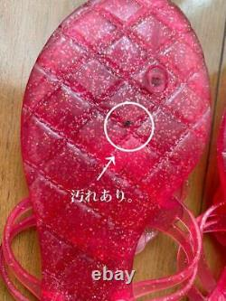 Auth CHANEL CC Camellia Jelly Flip Flop Sandals Pink Size 37 Used from Japan F/S