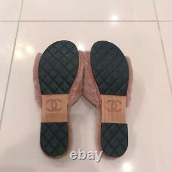 Auth CHANEL CC Lapin Fur Slide Sandals Size38 Mauve Pink Mint from Japan F/S