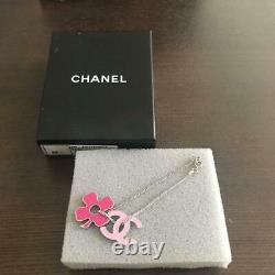 Auth CHANEL Pink CC Clover Charm Chain Bracelet Gold Used from Japan F/S