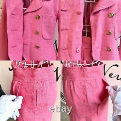 Auth CHANEL Tweed Suit Pink Gold Vintage From Japan