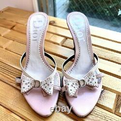 Auth CHRISTIAN DIOR Sandals Heels Leather Pink Vintage From Japan
