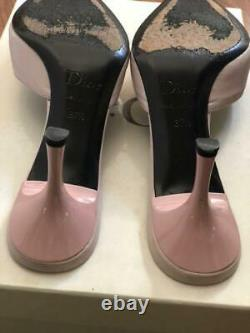 Auth Christian Dior Mules Sandals Rose Bow D Logo Size EUR 37.5 Used from Japan