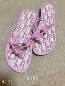 Auth Christian Dior Trotter Thong Sandals Pink Size EUR 36 Never Used from Japan