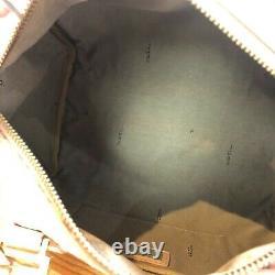 Auth FENDI Logo Pink Brow Boston Bag Zucca Canvas From Japan Afar Vintage