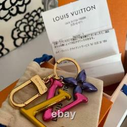 Auth Louis Vuitton LV Logo Keyring Bag Charm Pink/Gold Used from Japan F/S