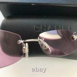 Authentic CHANEL CC Logo Rimless Sunglasses Pink 54 19 130 Women Used from Japan