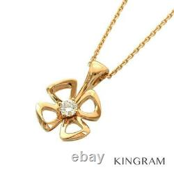 BVLGARI Fiorever 18K Pink Gold (750) Diamond Flower cleaned Necklace from Japan