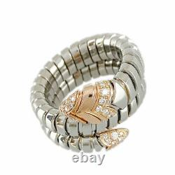 BVLGARI Serpenti Stainless Steel 18K Pink Gold (750) Diamond ring from Japan