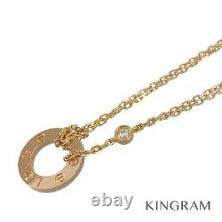CARTIER Love circle 18K Pink Gold (750) Diamond 2P Cleaned Necklace from Japan
