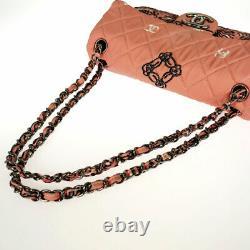 CHANEL Bandana pattern print ChainShoulder Pink canvas Cross Body from Japan