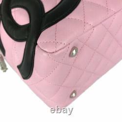 CHANEL Cambon line bowling bag Pink x Black leather Women's handbag from Japan
