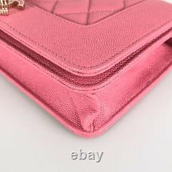 CHANEL Chain wallet matrasse pink Soft caviar skin Cross Body from Japan