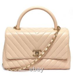CHANEL Coco Handle 2way Bag V Stitch Calf Leather Pink Beige #52981 from Japan