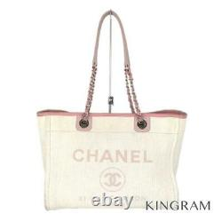 CHANEL Deauville MM A67001 White pink Canvas leather tote Bag from Japan