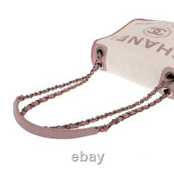 CHANEL Deauville WChain A93183 White x pink campus Cross Body Bag from Japan
