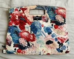 CHANEL Reversible Hand Tote Bag Denim Floral Cruise Line Pink Vintage From Japan