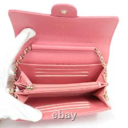 CHANEL Shoulder Bag pink gold Chain wallet purse from japan