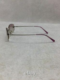 CHANEL Sunglasses Square Metal Pink Silver Color Accessory from Japan Used