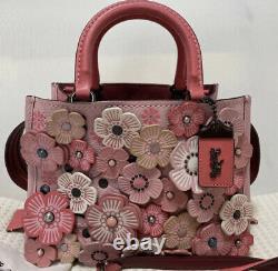COACH Rogue 25 Tea Rose Applique Shoulder Bag Pink Used Delivered from Japan