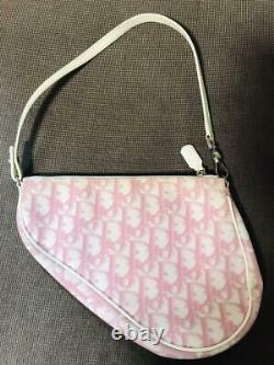 Christian Dior Auth Canvas X Leather Trotter Saddle Bag Pink Used from Japan