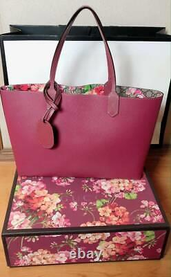 GUCCI GG Blooms & Beige Reversible Tote Bag Women Used From Japan F/S FEDEX RSMI