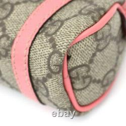 GUCCI GG Canvas Mini Pouch Bag Charm Keyring Beige/Pink #54132 from Japan