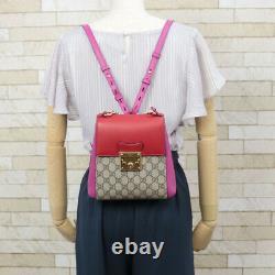 GUCCI Handbag pink Red beige 2WAY bag Shoulder GC small Padlock from japan
