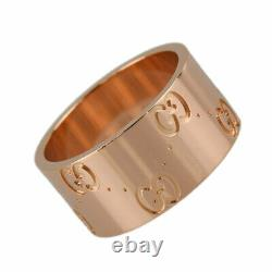 GUCCI Icon print 18K Pink Gold (750) Notation size (51) Cleaned ring from Japan