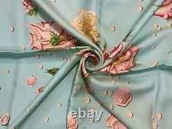 Hermes Rose pattern 100% Silk Carre Scarf 90cm Light green From Japan #2540