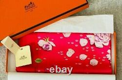 Hermes Rose pattern Silk Carre petit Scarf 42cm Pink in box From Japan #2082
