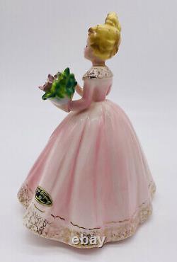 Josef Originals Florist Girl from Careers Series Pink Dress Holding Bouquet 7
