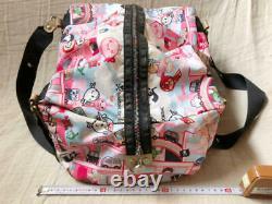 LeSportsac Tokidoki Boston Bag Pink Bear Charm Rainbow Zip Limited From Japan