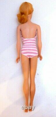 Mattel Vintage Barbie #4 blond hair doll with Pink bathing suit from Japan F/S