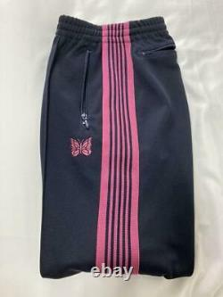 NEEDLES Track Pants Narrow Navy x Pink Line Size-M Used from Japan F/S