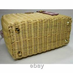 PRADA 2 Way Shoulder Bag Rattan Basket Bag Beige Pink 1BG835 USED from Japan