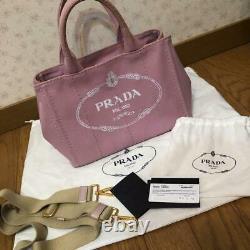PRADA Auth CANAPA Denim Tote Bag Shoulder Bag ALABASTRO Pink Used from Japan