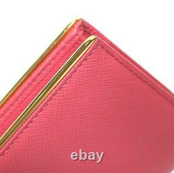 PRADA Bifold Wallet Pink 1MV204 #50721 free shipping from Japan