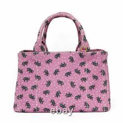PRADA Handbag 1BG439 ROSA pink canvas Tote Bag CANAPA Canapa from japan