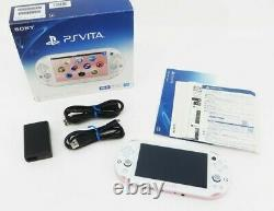 Sony PS Vita Pink White Slim PCH-2000 with Charger + Box From Japan Excellent+
