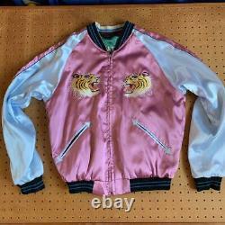 Sukajan Men's Size S Pink Green Reversible Tigers & Dragons Vintage From Japan