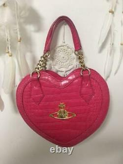 VIVIENNE WESTWOOD Heart Shape Orb Hand Tote Bag Pink Chain Women's From Japan