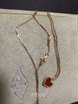 Van Cleef Arpels Alhambra Pink Gold x Carnelian Heart Necklace From Japan FedEx