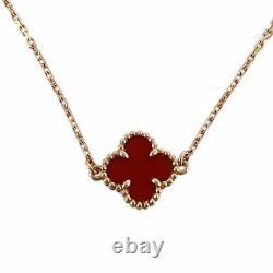 Van Cleef & Arpels Sweet Alhambra 18K Pink Gold Carnelian Bracelet from Japan