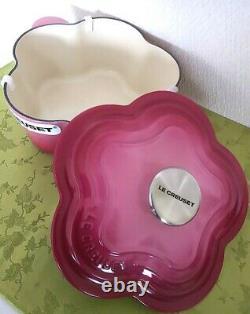 Very Rare Color! Le Creuset Flower Cocot fleur Berry 2.25USQT Limited From Japan