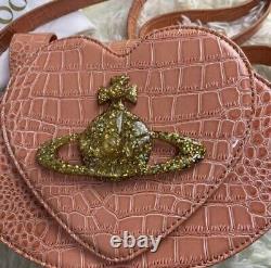 Vivienne Westwood Shoulder Bag Heart Croco Embossed Pink from Japan F/S